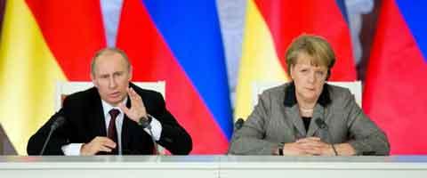Imagen-Merkel y Putin: Diplomacia ucraniana