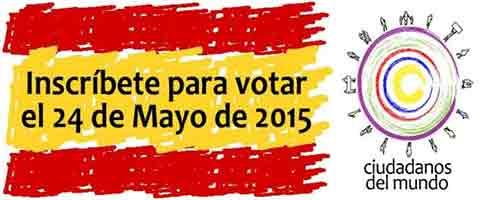 """Imagen-Inscribete para votar el 24 de mayo del 2015, """"Ciudadanos del mundo"""" a los extranjeros residentes en Espana"""